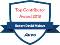 Logo Recognizing Law Offices Of Robert David Malove's affiliation with AVVO Top Contributor 2013